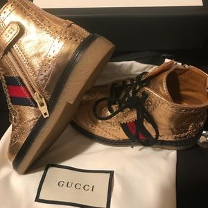 Authentic Gold Gucci toddler Boots wore once